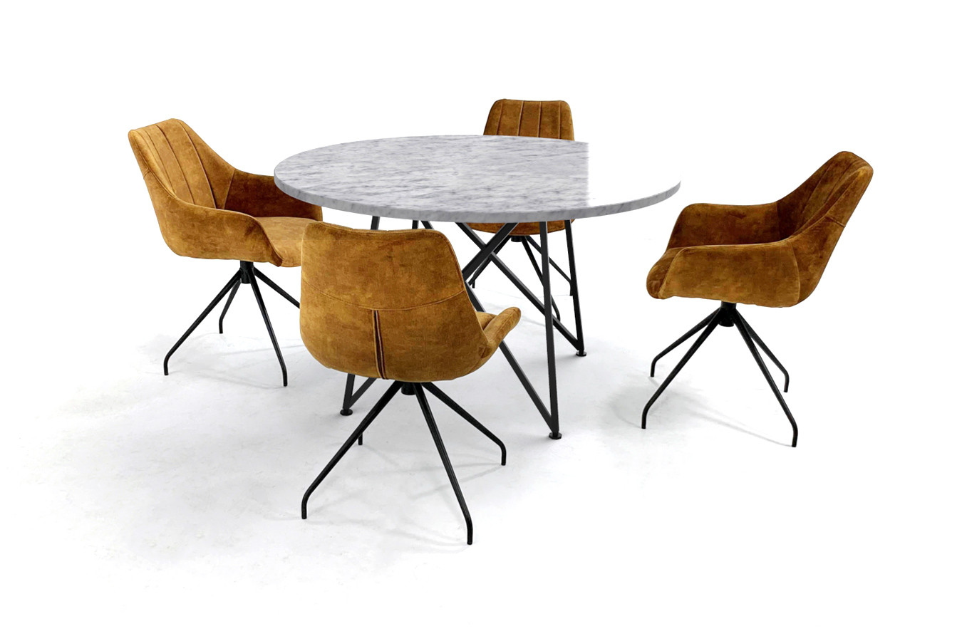 Ronde marmeren tafel met slank design onderstel en velvet stoelen