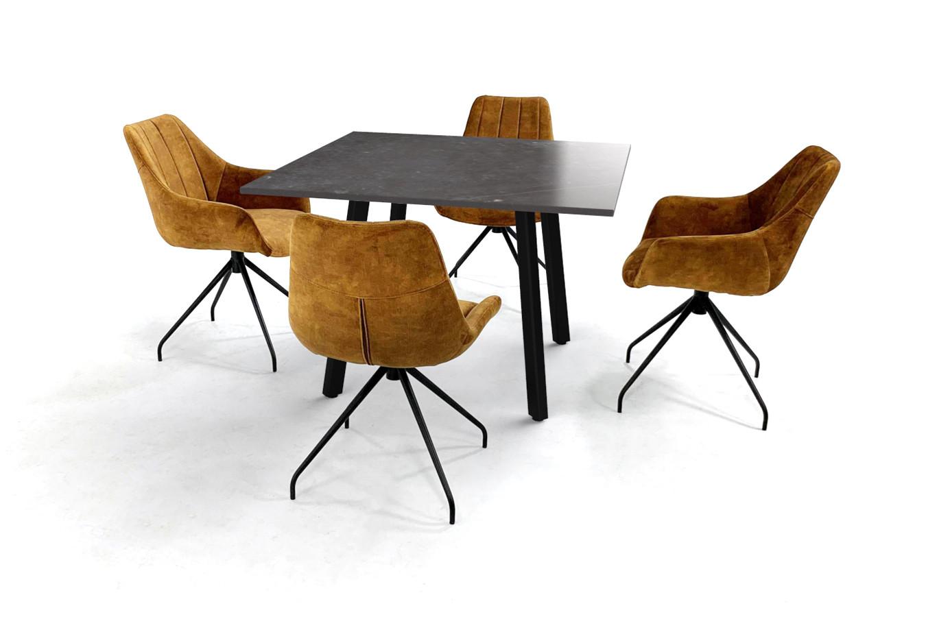 Vierkante eettafel met Dekton blad, Imperia onderstel en velvet stoelen