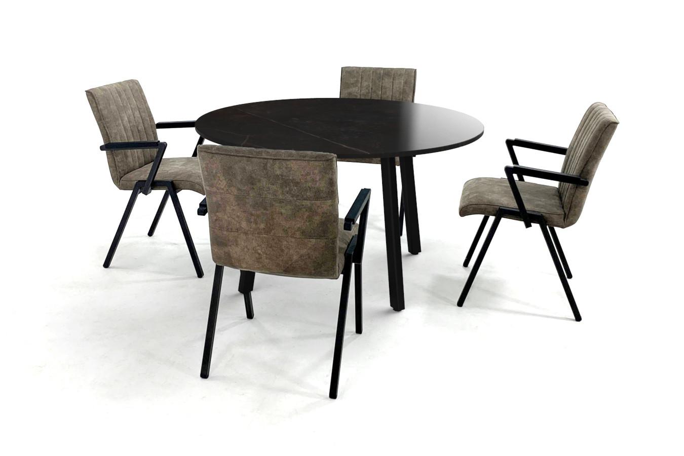Ronde keramische eettafel met stalen Imperia onderstel en eetkamerstoelen