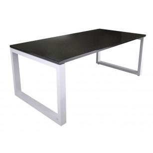 Donker natuursteen tafelblad met wit onderstel