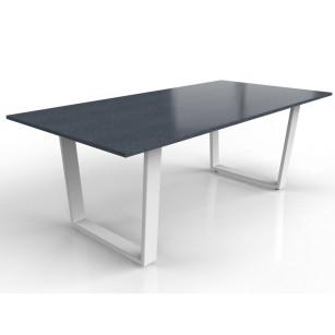 Nero Assoluto tafelblad met wit gecoat Savona onderstel