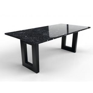 Zwarte granieten tafel met robuust stalen onderstel