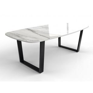 Marmeren tafel van Dekton met strak gecoat onderstel