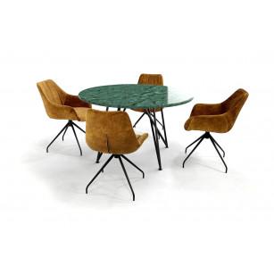 Marmeren eettafel Verde Guatemala met stalen onderstel en velvet stoelen