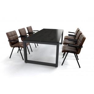 Industriële eettafel set met Dekton Radium blad en echt lederen stoelen