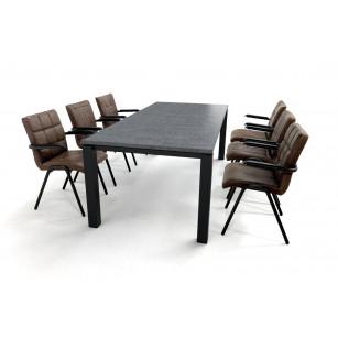 Granieten dining set met gecoat stalen onderstel en leren eetkamerstoelen