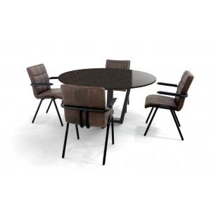 Ronde Silestone Eternal Emperador eettafel set met lederen eetkamerstoelen