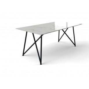Marmer tafel gemaakt van Dekton en stalen Genua onderstel
