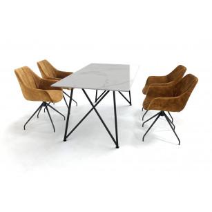 Marmeren tafelset gemaakt van Dekton en stalen Genua onderstel