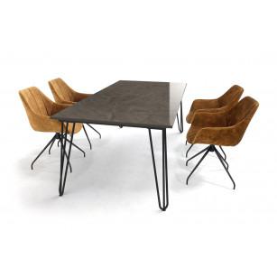 Dekton tafel met Scandinavisch design hairpin tafelonderstel en velvet stoelen