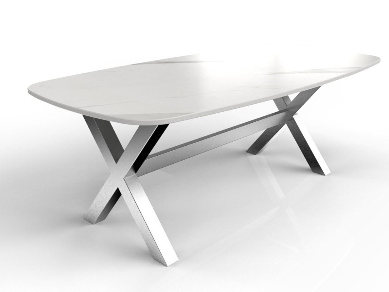 Dekton Olimpo bootvorm tafel met RVS tafelonderstel