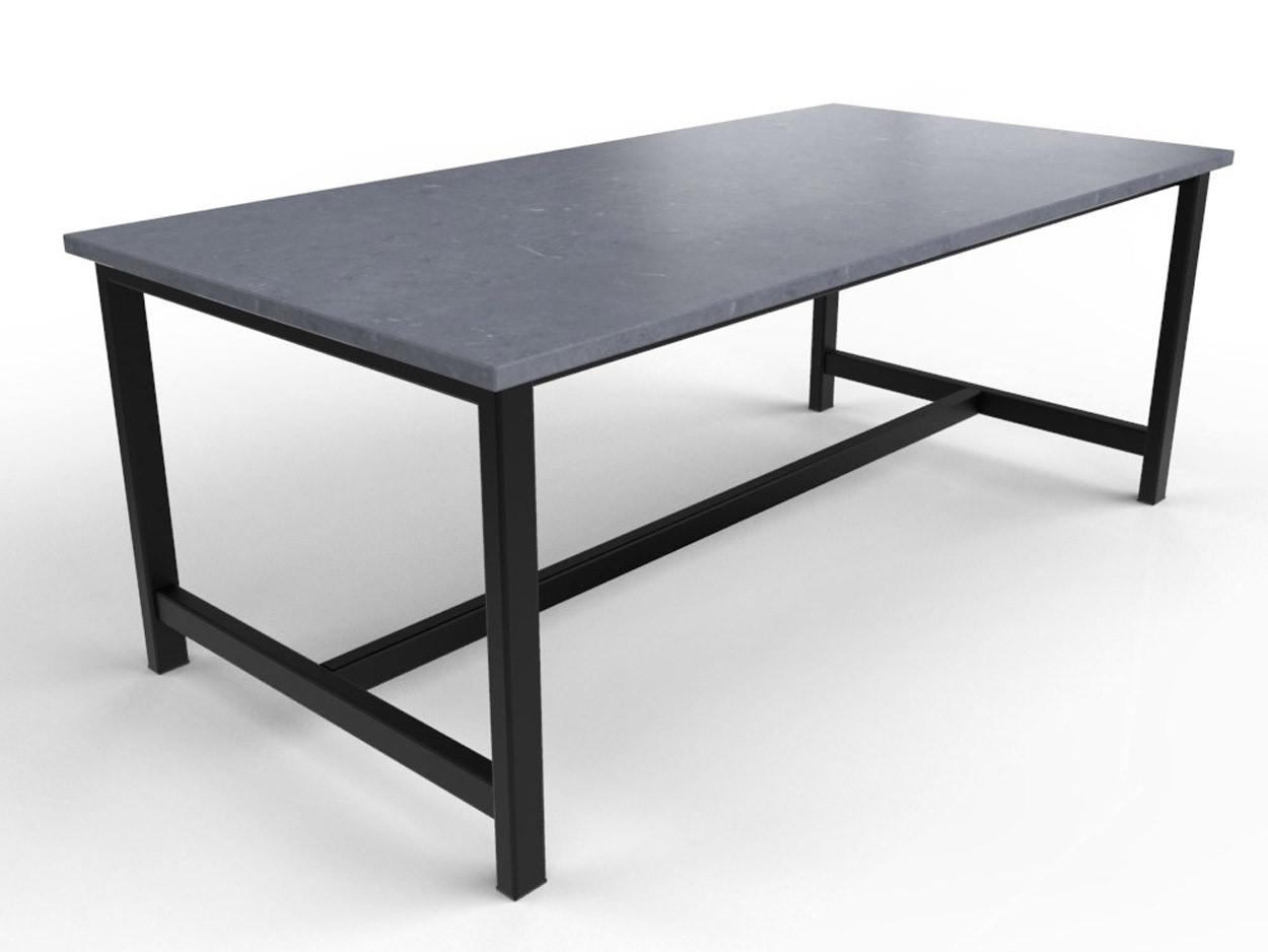 Belgisch hardstenen tafel met stalen onderstel