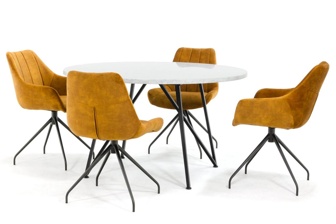 Rond marmeren eettafel met slank design onderstel