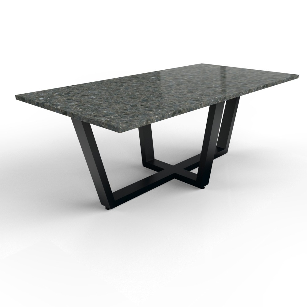 Granieten tafel met gecoat stalen Milano onderstel