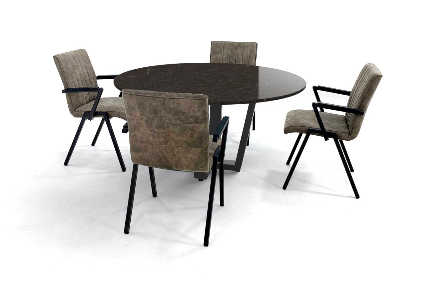Ronde eettafel met Silestone Eternal Emperador blad en Loja eetkamerstoelen met armleuning