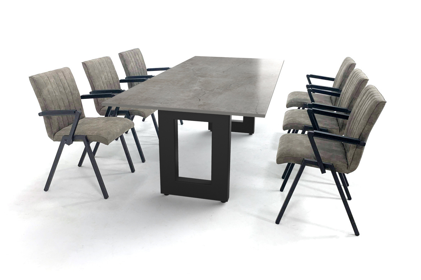 Industriële eettafel met betonlook tafelblad en comfortabele stoelen