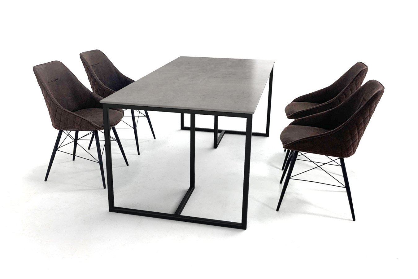 Keramische eettafel met Scandinavisch design onderstel en smalle eetkamerstoelen