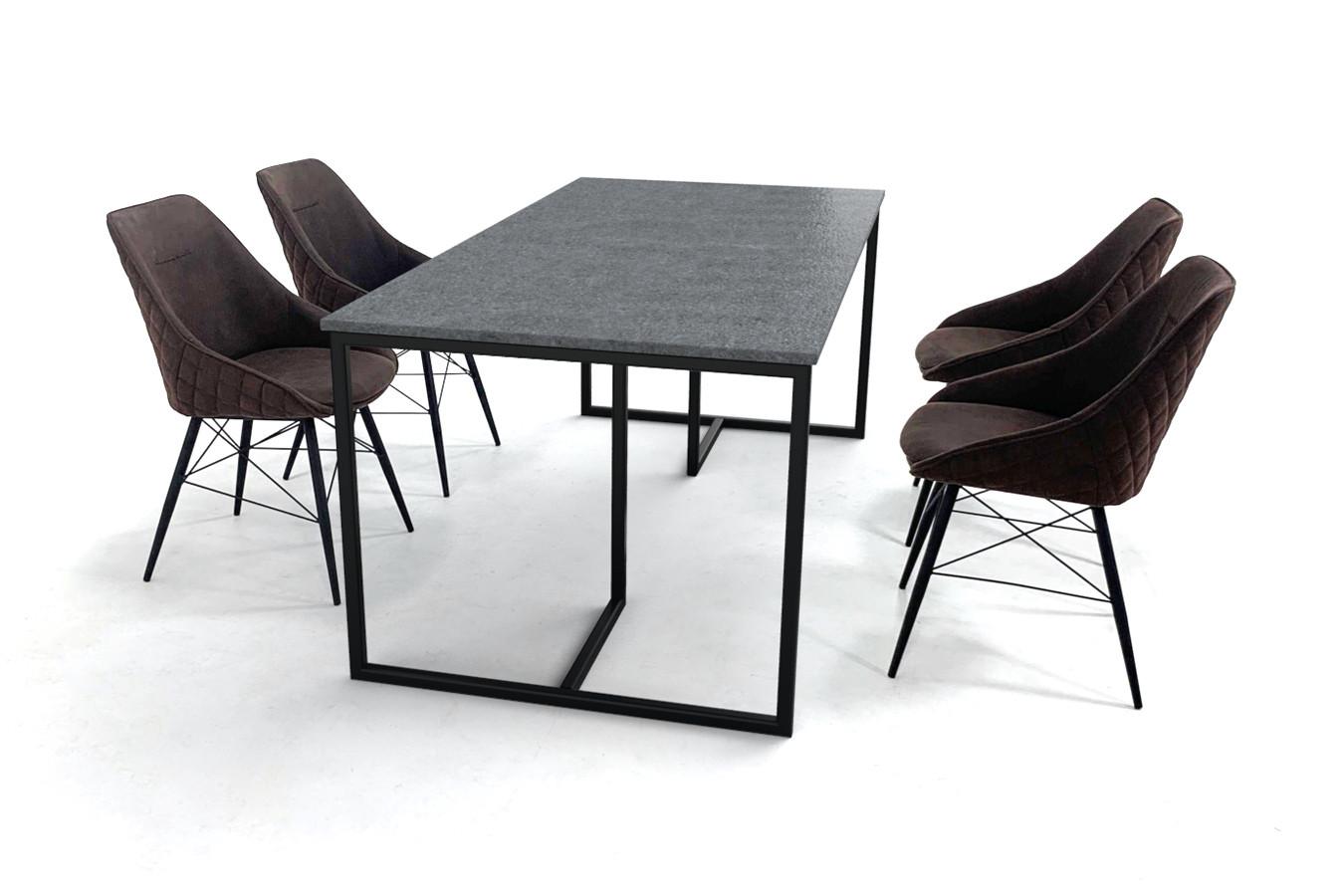 Deens design eettafel set met granieten tafelblad en elegante stoelen