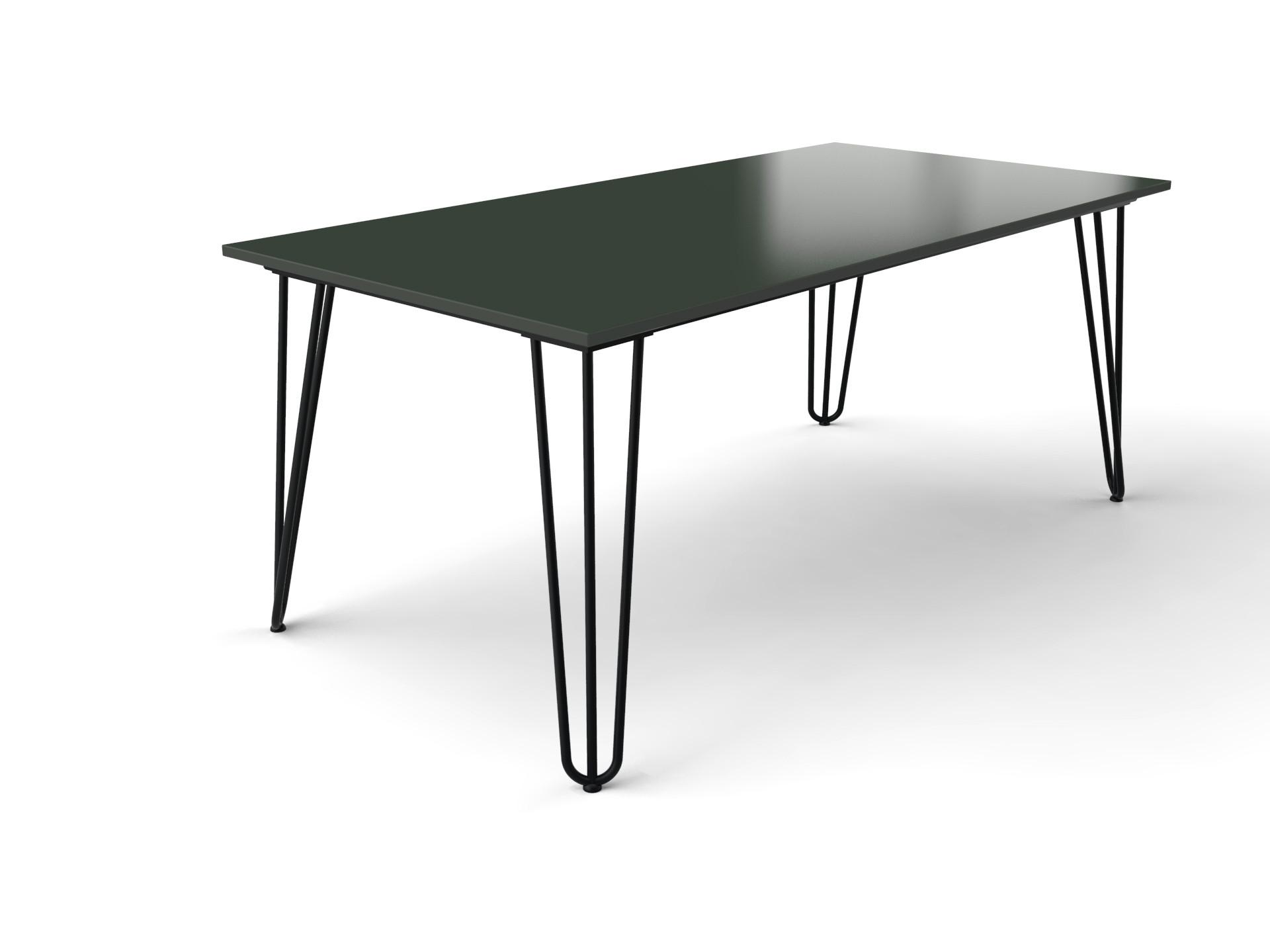 Stockholm hairpin tafel met groen Dekton Feroe tafelblad